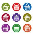 Shopping basket icons isolated on white background vector