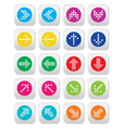 Dotted colorful arrows round icons set isolated on vector
