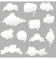 Speech bubbles set with grey background vector