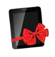 Abstract design tablet with red bow and ribbon vector