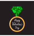 Wedding ring with green diamond valentines day vector