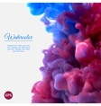 Blue and violet swirling ink in water vector