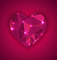 Red diamond heart shape with star lights effect vector