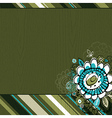 Hand draw flowers on green grunge background vector