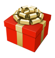 Gift box with gold bow vector
