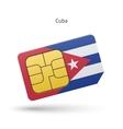 Cuba mobile phone sim card with flag vector