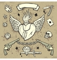 Set of old school tattoo elements vector