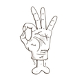Zombie hand with ok sign vector
