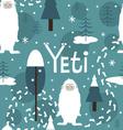 Seamless print with cute yeti vector
