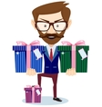 Businessman offering many gifts vector
