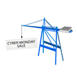 Blue mobile crane with cyber monday billboard vector