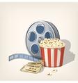 Popcorn box film strip and tickets cinema poster vector