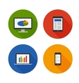 Responsive design flat icons set vector