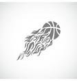 Flame fire ball grey basketball symbol icon vector
