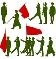 Silhouette military people with flags collection vector