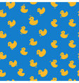 Cute pattern with yellow ducks on a blue vector