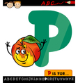 Letter p with peach cartoon vector