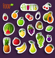Fresh fruits stickers vector