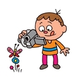 Boy filming a butterfly vector