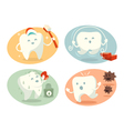 Cute tooth in different situations vector