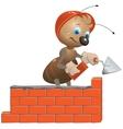 Ant mason builds a wall vector