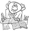 Professor or writer cartoon coloring page vector
