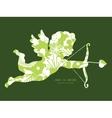 Green and golden garden silhouettes vector