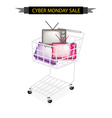 Retro television in cyber monday shopping cart vector