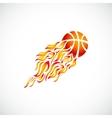 Flame fire ball orange basketball symbol icon vector