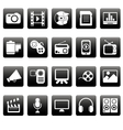 White media icons on black squares vector