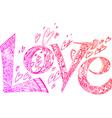 Love pink sketchy doodles vector