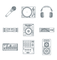 Various dark outline sound devices icons set vector