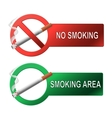 The sign no smoking and smoking area vector