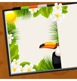 Wooden table with tropical dairy vector