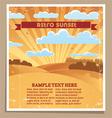 Landscape retro sunset poster vector