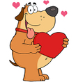 Fat dog holding up a red heart vector