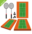 Badminton and court vector