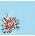 Hand draw flowers on blue grunge background vector