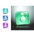 People human men glass icons set green vector