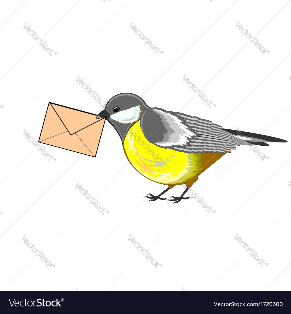 A cute titmouse with a letter in its beak vector | Price: 1 Credit (USD $1)