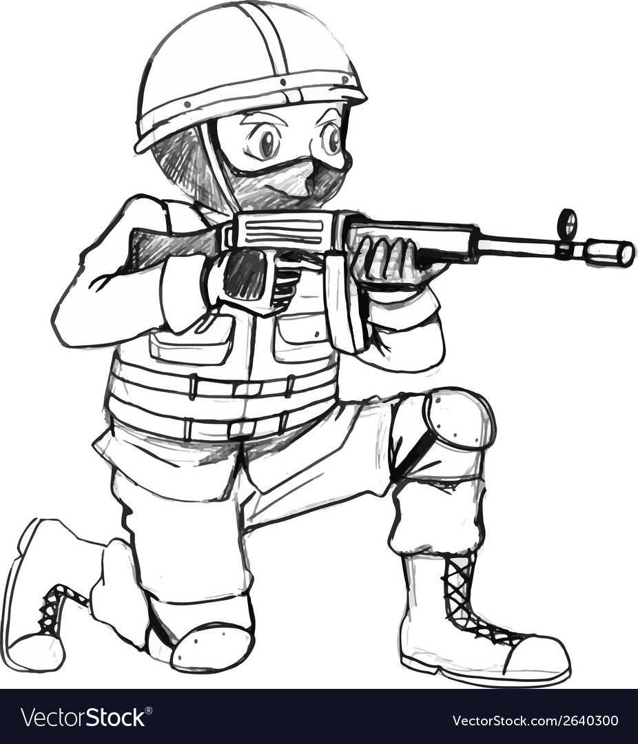 A sketch of a soldier with a gun vector | Price: 1 Credit (USD $1)