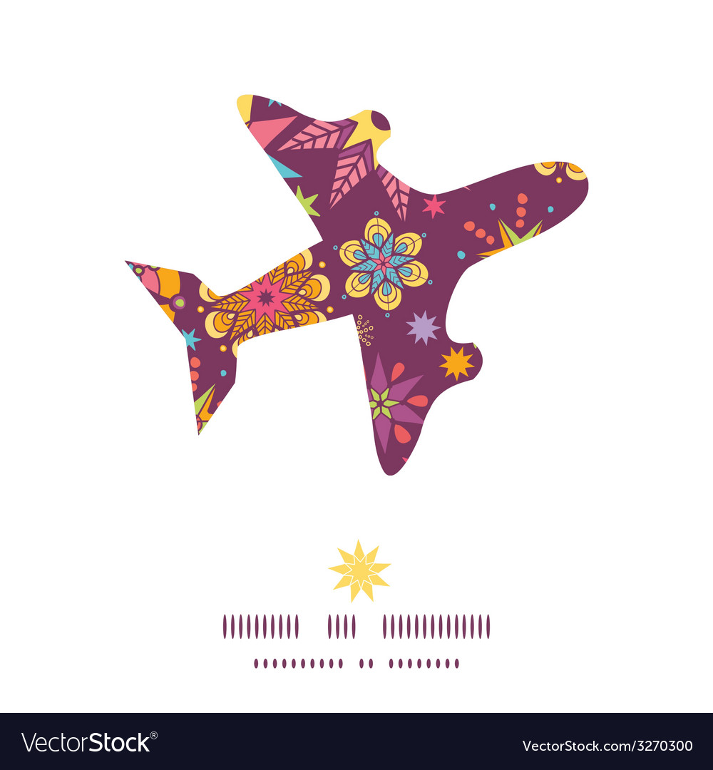 Colorful stars airplane silhouette pattern frame vector | Price: 1 Credit (USD $1)