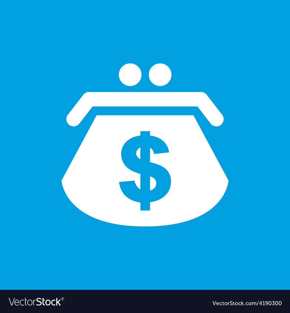 Dollar purse white icon vector | Price: 1 Credit (USD $1)