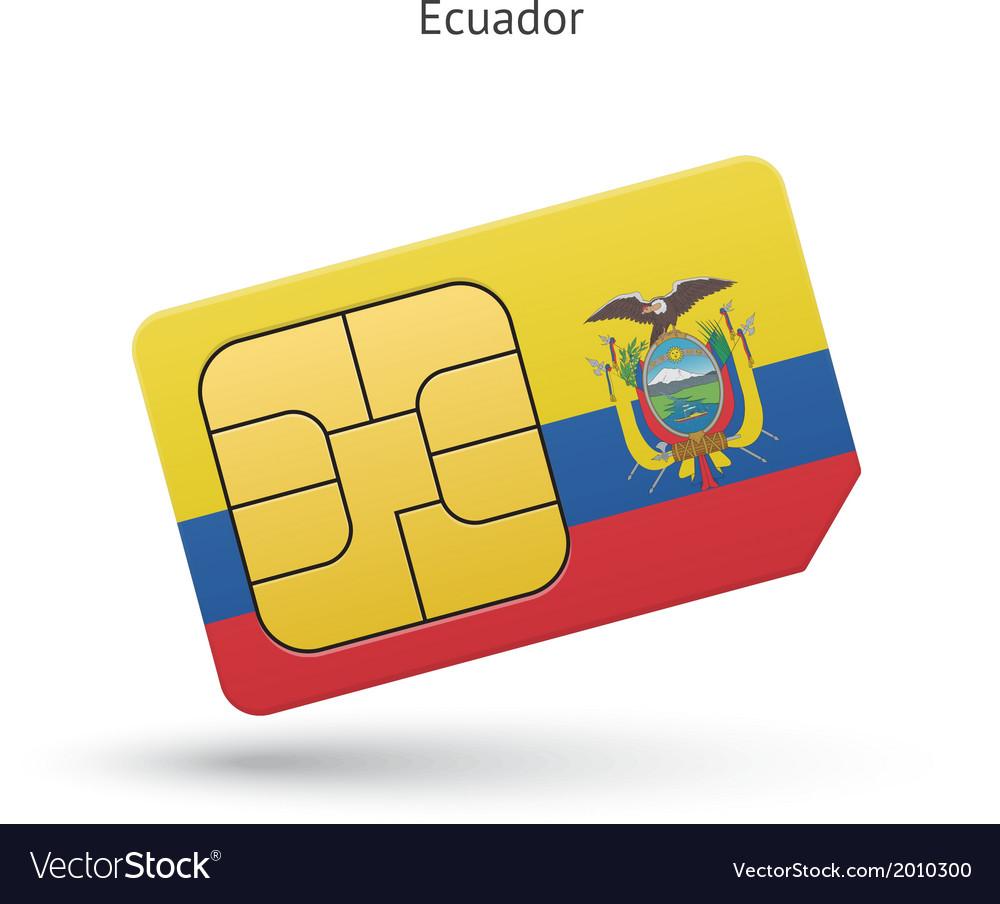 Ecuador mobile phone sim card with flag vector   Price: 1 Credit (USD $1)