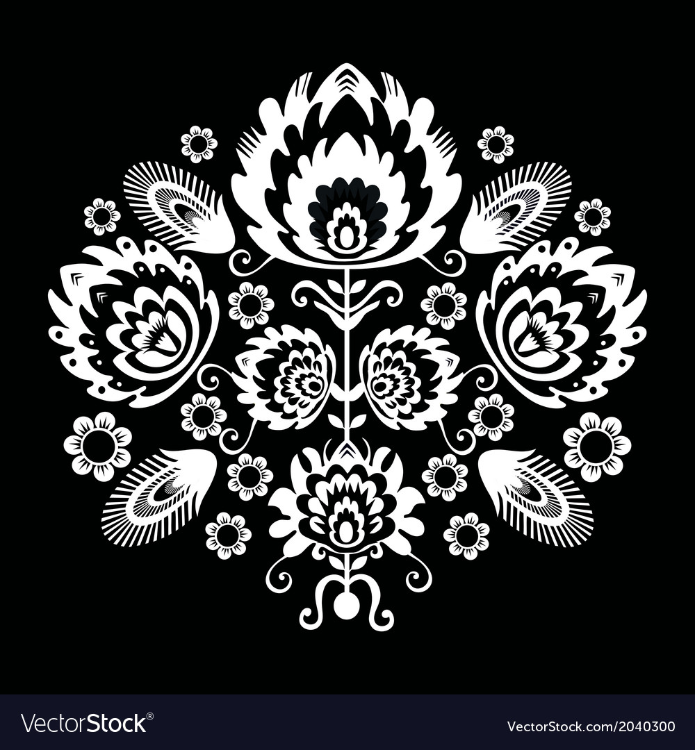 Folk pattern with flowers black vector | Price: 1 Credit (USD $1)