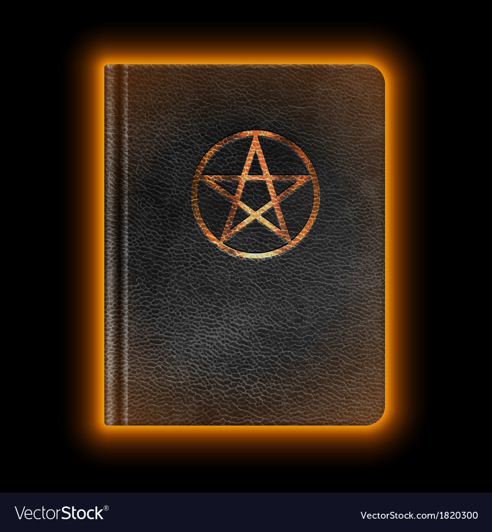 Glowing leather book with pentagram vector | Price: 1 Credit (USD $1)