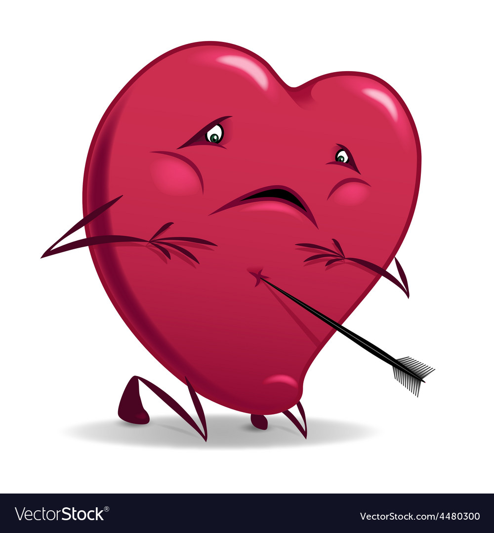 Heart wounded isolated vector | Price: 1 Credit (USD $1)