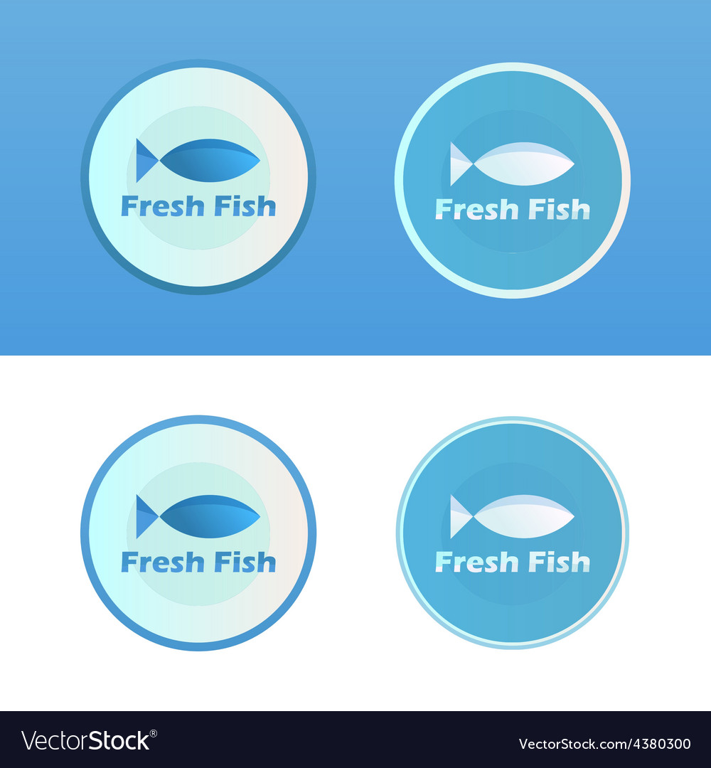 Icons of fish with caption vector | Price: 1 Credit (USD $1)