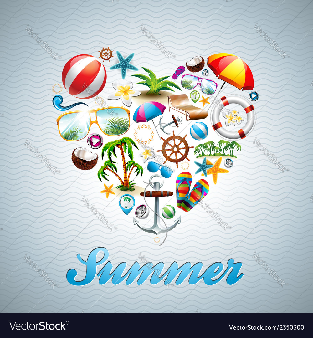 Love heart summer holiday design set vector | Price: 3 Credit (USD $3)