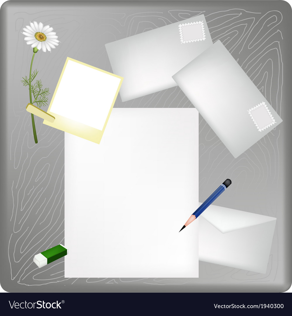 Pencil and picture frame on a blank page vector | Price: 1 Credit (USD $1)